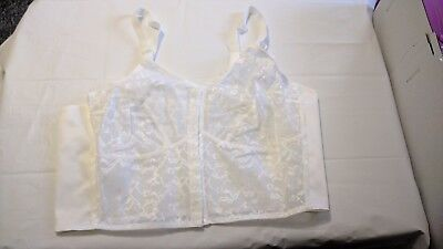 NEW VINTAGE old shop stock size 44B white lace front fastening long line bra