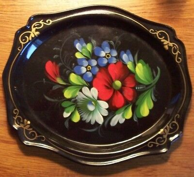 """Pristine 8"""" Russian Toleware Tray Hand Painted Floral On Black Laqueur Signed 58"""