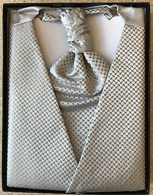 Wedding Waistcoat & Cravat Grey Diamonds XXL