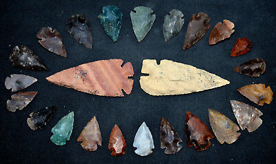 """22 PC Flint Arrowhead Ohio Collection Points 1-3"""" Spear Bow Knife Hunting Blade"""