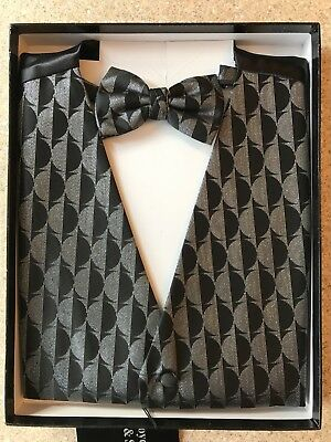 Waistcoat & Bow Tie Set - Size Medium - Black & Silver Circles