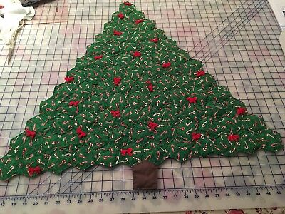 Vintage Hand Made Quilted Christmas Tree Wall Hanging - Hexagons Hand Sewn