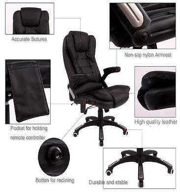 Brown Reclining 6 Point Massage Leather Office / Computer Table Executive Chair