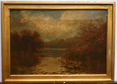 Worthington Whittredge, Autumn Lake View, Oil Painting, Finely Painted Details