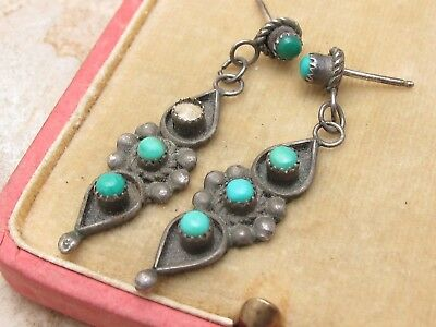 Vintage Sterling Silver 925 & Turquoise Drop Earrings missing 1 stone