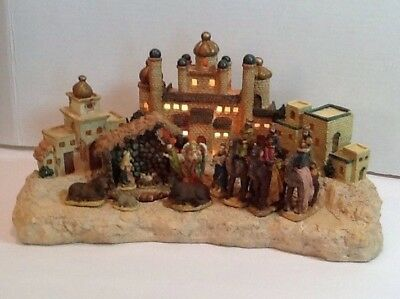 Vintage The Christmas Collection 13 Pc LIGHT UP Bethlehem Nativity