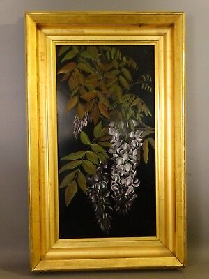 LG 19thC Antique VICTORIAN STILL LIFE Old WISTERIA FLOWERS Oil on Tin PAINTING