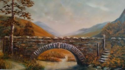 Vintage Framed Oil Painting on Canvas of Stone Bridge in Scotland Artist Signed