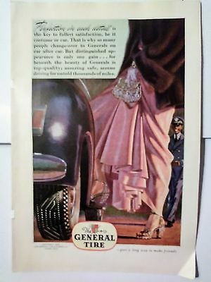 1946 The General Tire Ad Automobile Rubber Fashion & Saftey Hollywood Glamor Fun