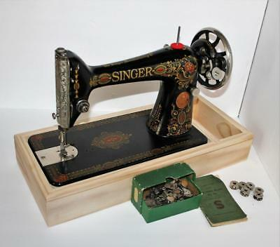 1919 Singer 66 RED EYE  Sewing Machine Head  Attachments Manual  Custom Base