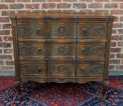 Antique French Country Oak Louis XV Serpentine 3-Drawer Chest Drawers Commode #2