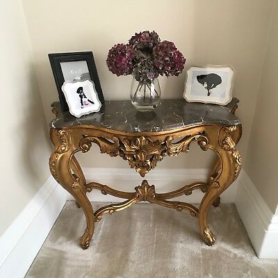 Antique French Gilt Marble Topped Console Table