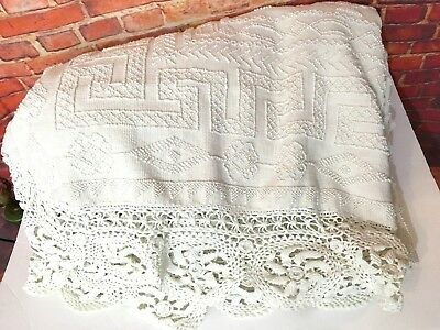 "Antique 1800's Large Heavy Chenille Bedspread with 6"" Lace Embroidered Trim"