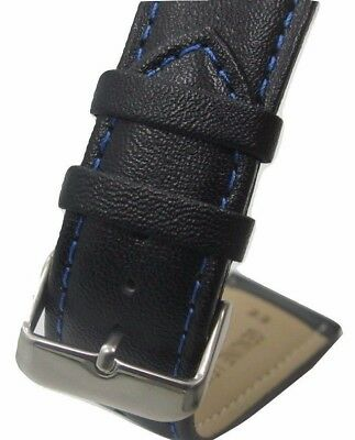 9b75f6e74a 22mm Italian Genuine Leather Italy Black Smooth Blue Stitch Watch Band Strap