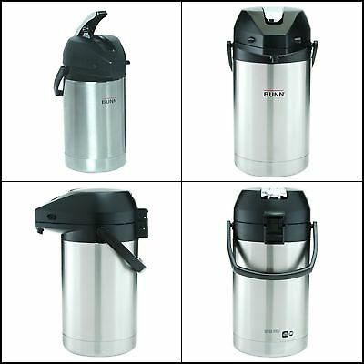 BUNN  2.5 Liter Lever-Action Airpot, Stainless Steel For Hot/Water/coffee/Tea