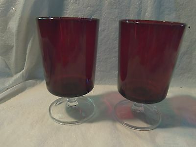 2 Vintage Arcoroc France Durand Ruby Red Glass Footed Goblet Wine Juice  5 1/4