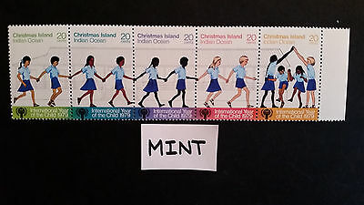No-1-1979 CHRISTMAS  ISLAND-YEAR OF  THE  CHILD  STRIP  OF 5  STAMPS - MINT--MNH