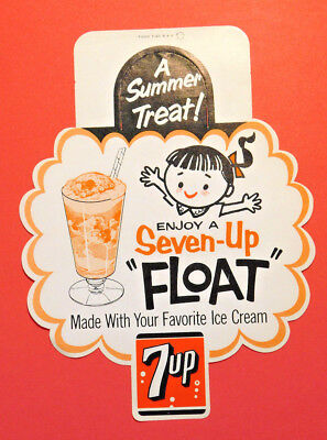 """7up """"A SUMMER TREAT"""" Bottle Topper - POINT OF SALE AD (LOT J240) *ONE PER SALE*"""