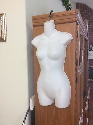 Clothing Display - Female Mannequin White Torso Dress Body Hanging Form + 1 Hook