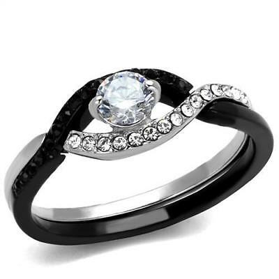 Brilliant 0.36ct Round Cubic Zircon CZ AAA Accented Two Tone IP Ring 5-10 TK2301