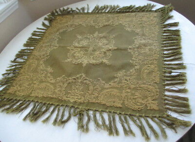 "Antique HAND WOVEN TABLECLOTH ~ 1920s ""parlor"" era ~ 30x30 ~ 4"" knotted FRINGE"