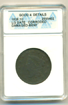 Anacs Good 4 Details 1828 Large Cent