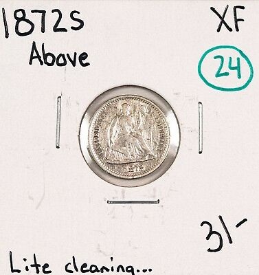 1872S Seated Half Dime XF #49261