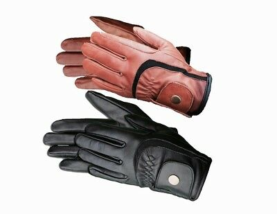 Equestrian Winter Horse Riding Gloves LADIES Genuine Leather BLACK BROWN