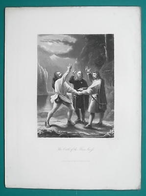 OATH of Three Men Fight For Swiss Confederation - Engraving Antique Print