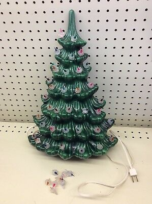 "VINTAGE CERAMIC WALL LIGHTED CHRISTMAS TREE ATLANTIC MOLD HANGING 17"" Tall"