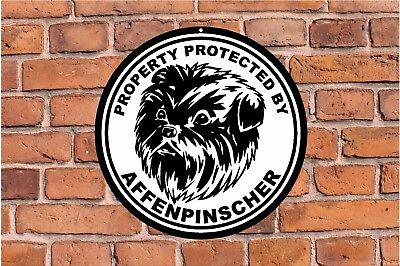 Property protected by AFFENPINSCHER dog yard fence ROUND aluminum metal sign