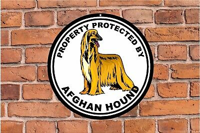 Property protected by AFGHAN HOUND dog yard fence ROUND aluminum metal sign #C