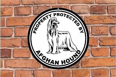 Property protected by AFGHAN HOUND dog yard fence ROUND warning metal sign