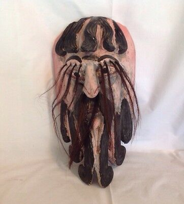 Vintage Mexican Hand Carved & Painted Wooden Mask Bearded Man Horsehair Eyebrows