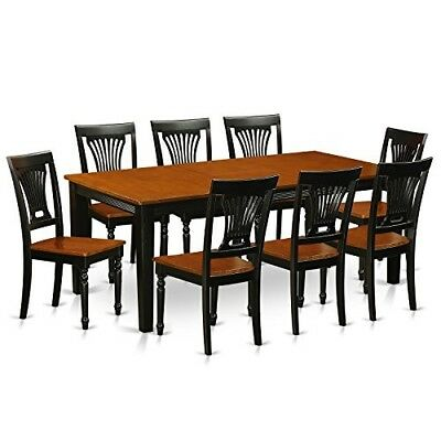 9 Pc Dining Room Furniture Rectangular Table Chairs Set Solid Wood Black/Cherry