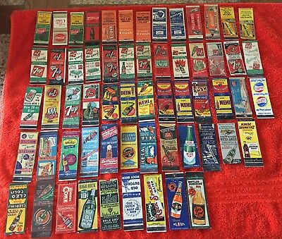 60 Old Soda Matchbook covers !!