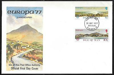 Isle Of Man - 1977 Europa / Cept - Landscapes - Illustrated First Day Cover
