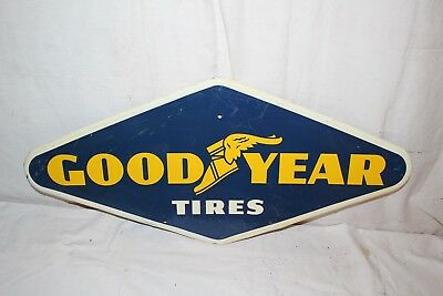 """Vintage 1961 Goodyear Tires Tire Gas Station Oil 28"""" Metal Sign~Nice"""