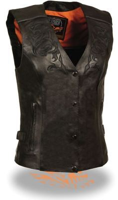 Milwaukee Leather Womens Vest w/Reflective Tribal Design & Piping Black