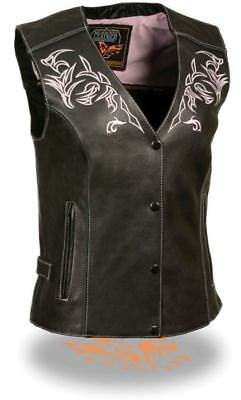 Milwaukee Leather Womens Vest w/Reflective Tribal Design & Piping Pink