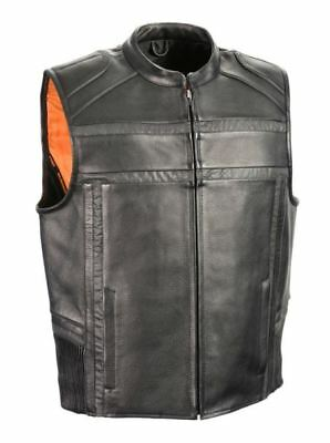 Milwaukee Leather Mens Reflective Band & Piping Zipper Front Vest Black