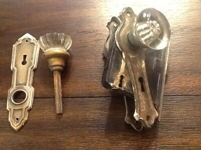 Antique Glass Door Knob w/Skeleton Key Mortise Backplates and door lock piece