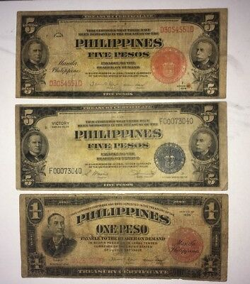 (3) notes  US / Philippines 1 & 5 1936 Pesos and 1944 5 Pesos. In USA Combo S/H