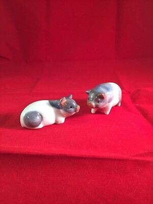 Pair Of Vintage Pig Figurines~Porcelain~Otagiri OMC Japan