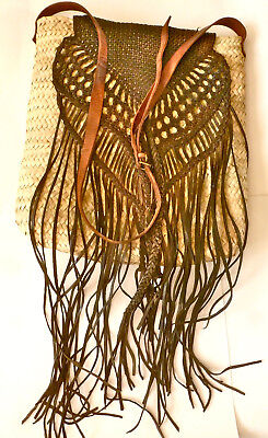 Moroccan Leather Tote Vtg Palm Tree Handmade Fringe Woven Market Shoulder Bag