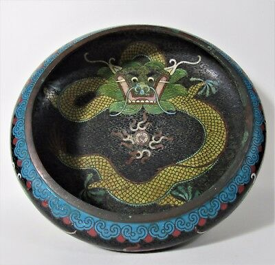 Antique Chinese Cloisonne Dragon Bowl ~ Signed