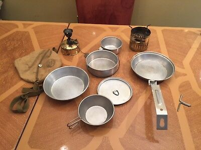 Svea 123 Camping Stove And Vintage Boy Scout Mess Kit