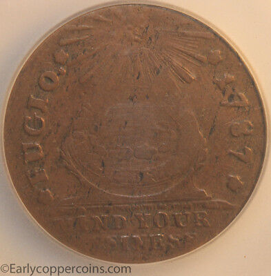 1787 Fugio N3-D W6680 Club Rays Rounded Ends ICG F15 Starts 1-cent NO-RESERVE!