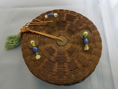 Vintage Woven Rattan Asian Round Sewing Basket