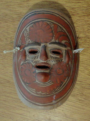 Small Vintage Mexican Clay Art Pottery Wall Mask